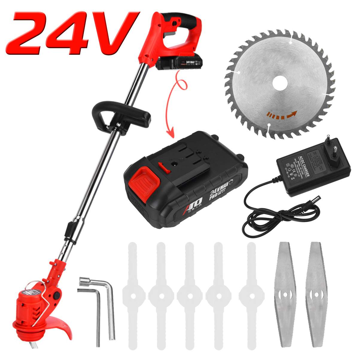 24V Cordless Electric Grass Trimmer with 7Pcs Blade 6000mh Battery Adjustable Lawn Mower Home Push Lawnmower Garden Power Tool