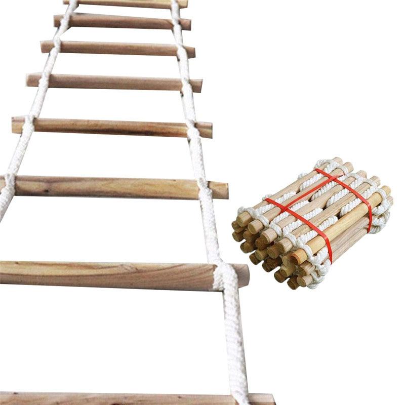 3M 5M Wooden Rope Ladder Home Lifeline Ladder Outdoor Round Nylon Soft Steps Escape Ladder Fire Rescue Home Climbing Rungs