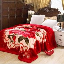 Manta gruesa de doble capa para invierno, manta laschel de felpa para cama doble, cálida y esponjosa, suave, estampada con flores