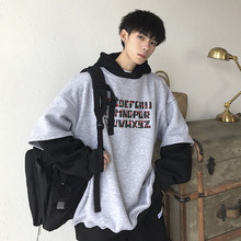 купить New Hoodies Men Fashion Contrast Color Letter Printing Casual Hooded Pullover Man Streetwear Hip Hop Loose Cotton Sweatshirt по цене 1868.61 рублей
