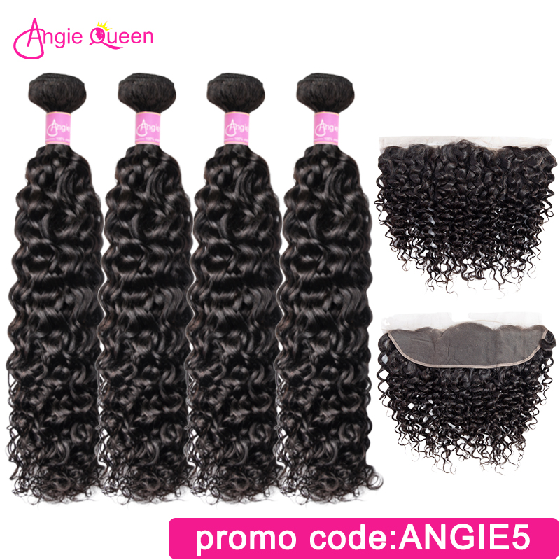 Water Wave Hair Bundles With Closure Frontal Peruvian Hair Bundles With Frontal 4 Bundles With Closure 16 18 20 22 24 26 Inches