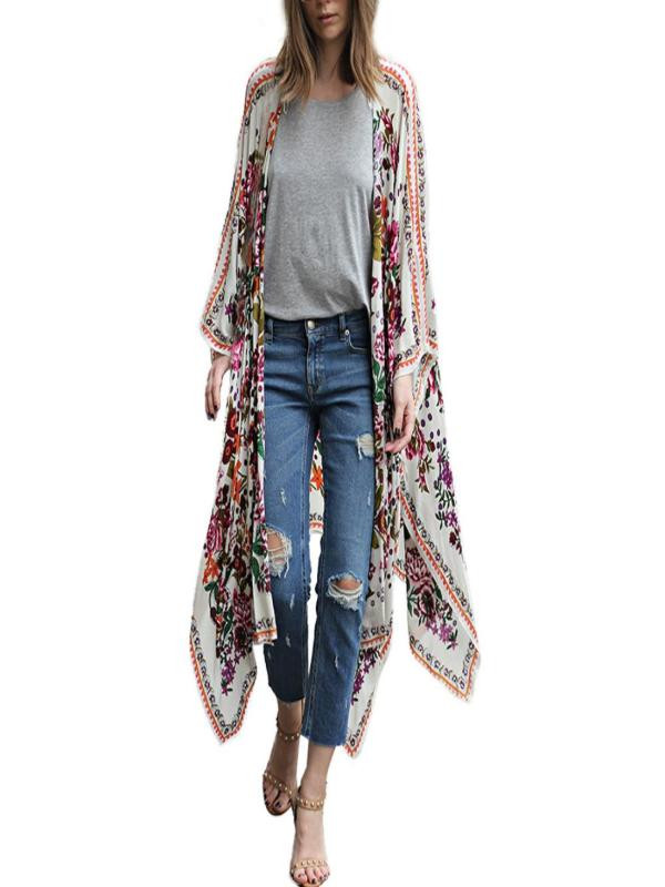 2020 Autumn Women Casual Floral Print Chiffon Loose Shawl Kimono Tops Cardigan Top Cover Up Girl Loose Fashion Shirt Blouse#BL5