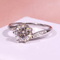 Pure 18K White Gold 1ct 2ct 3ct Moissanite Luxury Single row drill Ring Diamond Ring Wedding Party Anniversary Ring