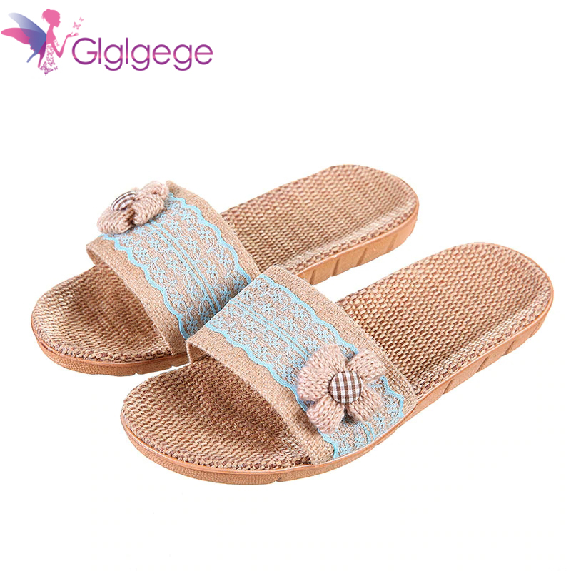 Promo Fashion Slides shoes woman Female Summer Beach slippers Bohemia Bowknot Flax Linen Flip Flops Beach Shoes Sandals And Slipper