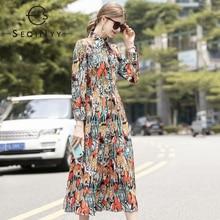 SEQINYY Midi Dress 2020 Spring Autumn New Fashion Design Women Animals Print Orange Flowers A-line Shirt