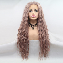 цена на AOSIWIG Synthetic Long Mix Pink Hair Wig Heat Resistant Afro Kinky Curly Lace Front Wigs For White Black Women Cosplay Lolita