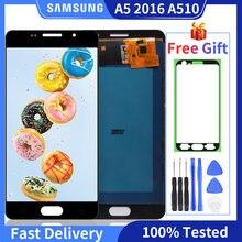100% протестированный ЖК-дисплей для Samsung Galaxy A5 2016 A510F A510M, ЖК-дисплей A510FD A5100 A510, сменный сенсорный экран с цифровым преобразователем в сборе