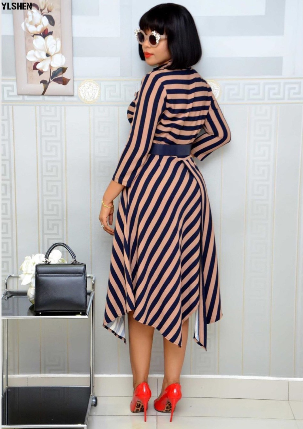 African Dresses For Women Stripe Africa Clothing Ankara Long Dress High Quality Length Fashion African Dress For Lady With Belt 32