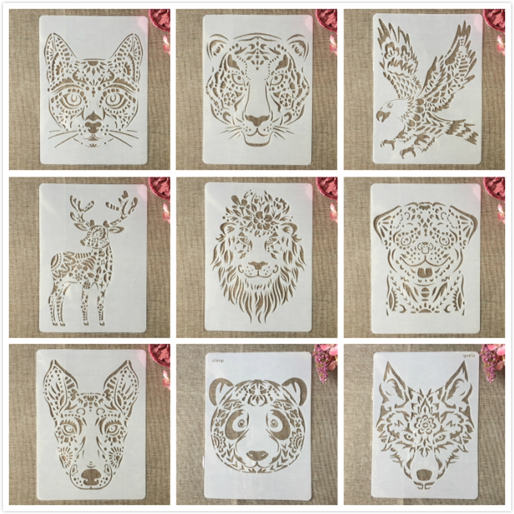 9Pcs A4 29cm Lion Tiger Deer Animals DIY Layering Stencils Painting Scrapbook Coloring Embossing Album Decorative Template