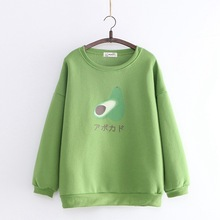 The new 2019 winter long sleeve sweater printed avocado cartoon crew neck pullover plus velvet warm womens bottoming shirt