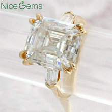 NiceGems 14K Yellow Gold Three Stone Ring Asscher Cut Moissanite Engagement ring 7CTW DF Color Double 4 Claw prong ring for wome(China)