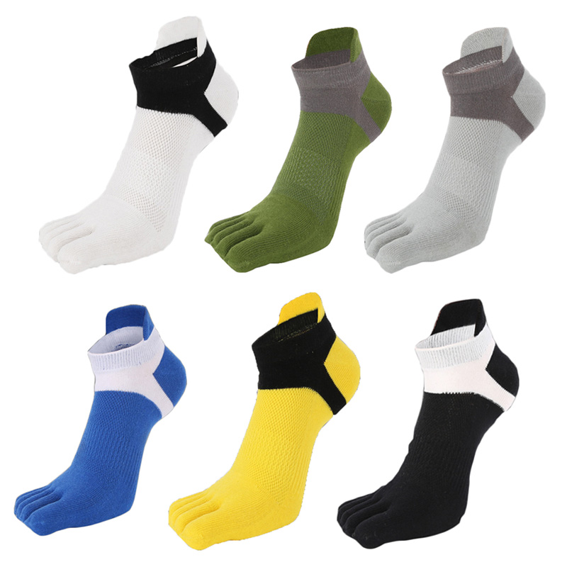1/2/3pair Five Finger Toe Socks Mesh Breathable Comfortable Men's Socks All Season Non-slip Stretchy Durable Male Socks Hosiery