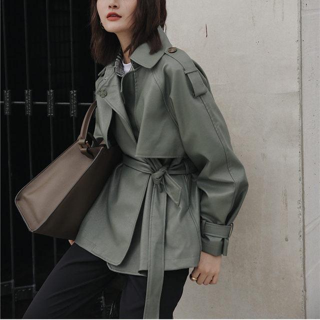 Hzirip Harajuku Matcha-green Women Retro Motorcycle PU Leather Plus Vintage Lace-Up Jackets Chic All-Match Female Women Outwear