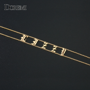 Image 4 - DOREMI 2019 Old English Numbers Necklace Name Custom Choker Personalized Letter Necklace for Girl Gothic Chic Jewelry