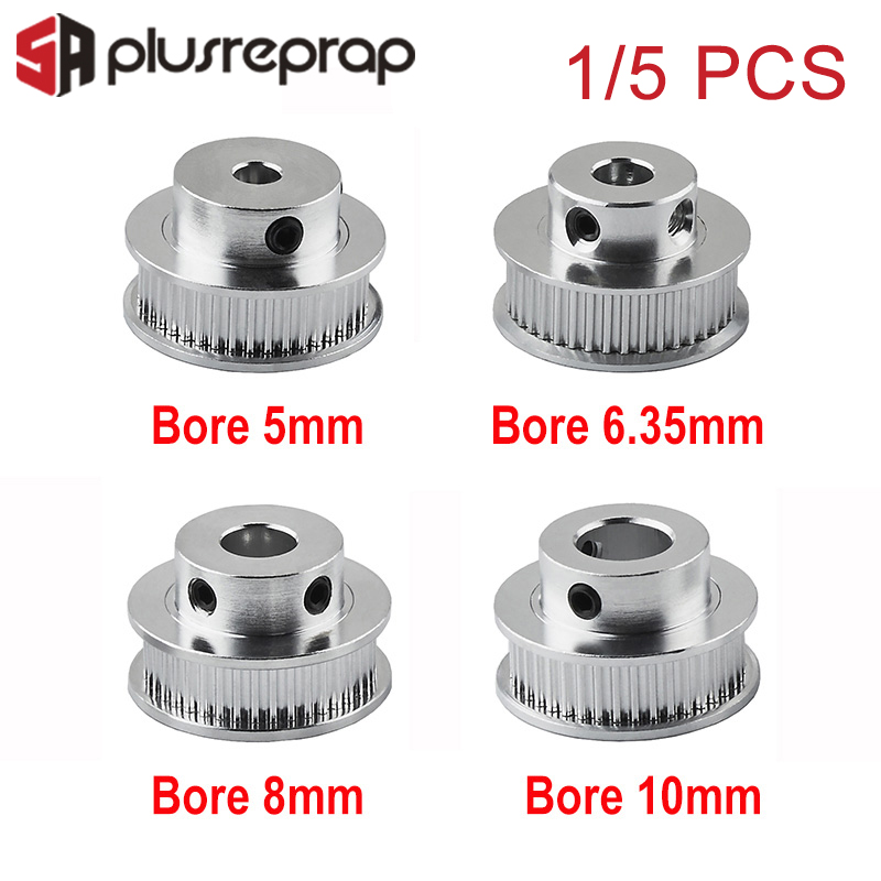 1PC 5PCS GT2 Timing Pulley 40 Teeth Teeth Bore 5mm 6.35mm 8mm 10mm For 6mm Belt 2GT Aluminum Alloy Pulleys 3D Printer Parts