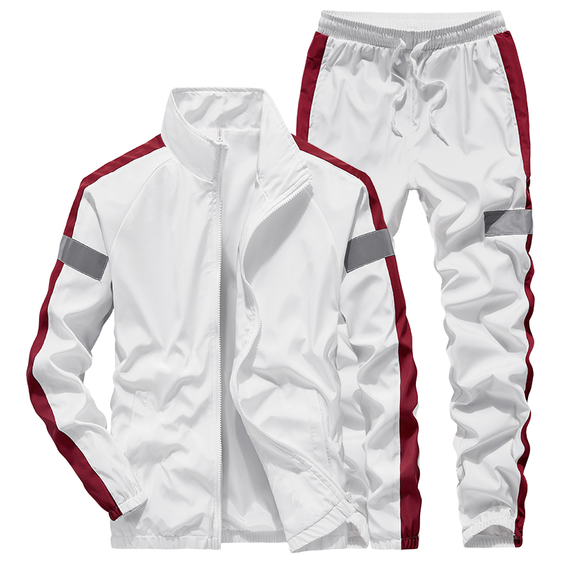 Loose Korean Tracksuit Men White Zipper Streetwear Long Sleeve Jacket Men Hip Hop Spring Ropa Hombre Men Sweatsuits Sets MM60NTZ