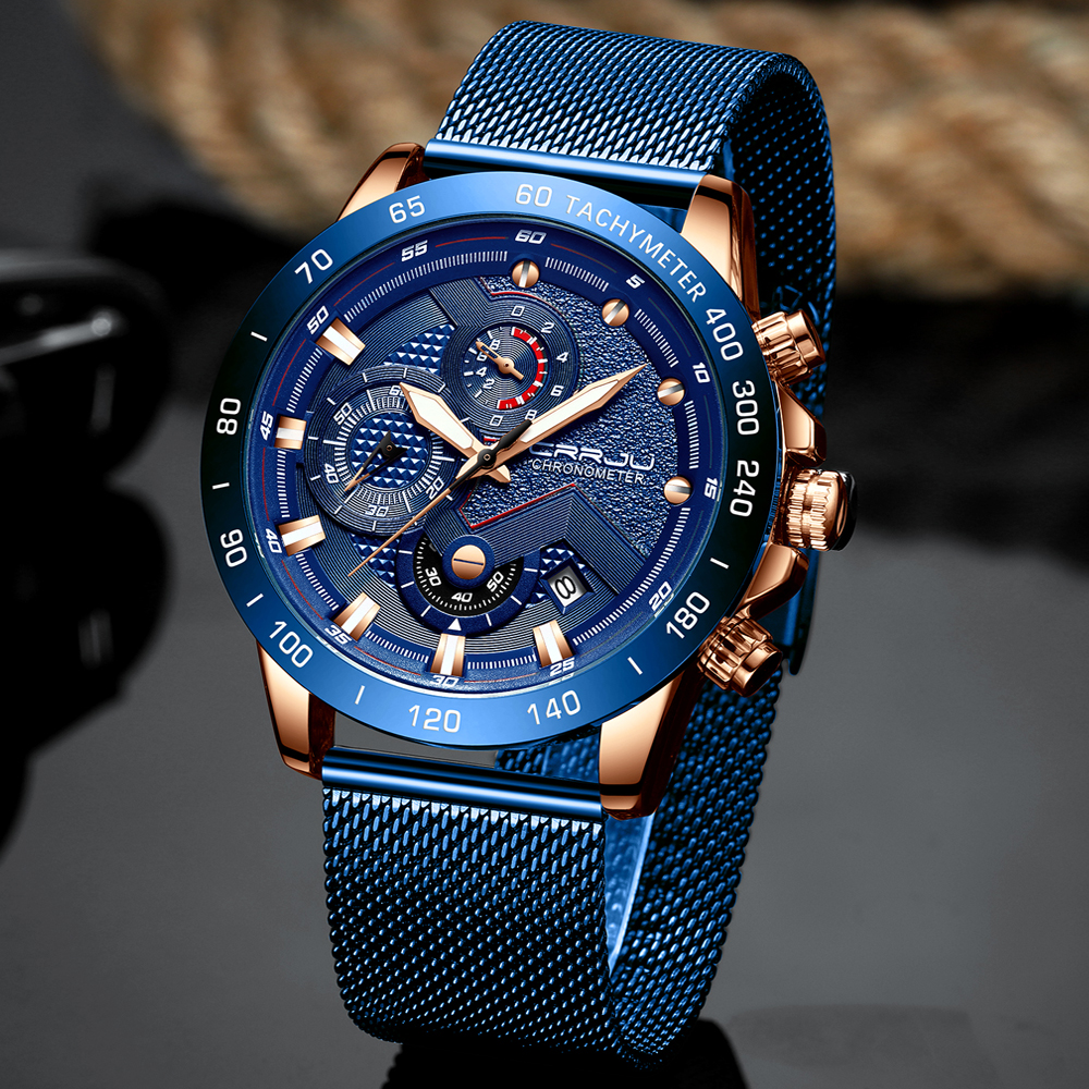 2019 CRRJU Fashion Men Watches Top Luxury Brand Chronograph Wristwatch Quartz Clock Sport Waterproof Watch Men Relogio Masculino
