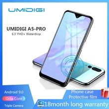 Разблокированный смартфон UMIDIGI A5 PRO, Android 9.0, восемь ядер, 6,3-дюймовый экран FHD+, тройная камера 16 Мп, 4150 мАч, 4 ГБ ОЗУ 32 ГБ ПЗУ, GSM
