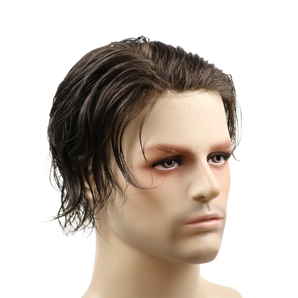 Натуральные волосы прямые 100% человеческих волос парик из тонкой кожи для Для мужчин искусственная кожа Для мужчин накладки из искусственны...