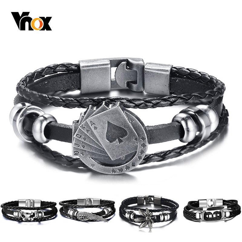 "Vnox Lucky Vintage Men's Leather Bracelet Playing Cards Raja Vegas Charm Multilayer Braided Women Pulseira Masculina 7.87"""
