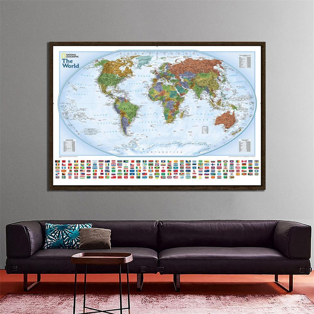 150X100cm The World Physical Map Non-woven Waterproof World Map With National Flags For Culture And Education