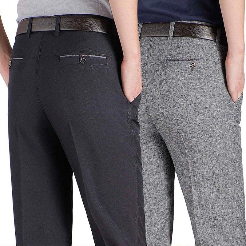 Новое поступление, мужские повседневные деловые штаны, мужские мягкие Брендовые брюки средней длины с мягкой отделкой, прямые черные, серые...