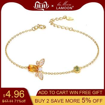 LAMOON Cute Bee 925 Sterling Silver Bracelet Woman love Citrine Gemstones Jewelry 14K Gold Plated Designer Jewellery LMHI002 1