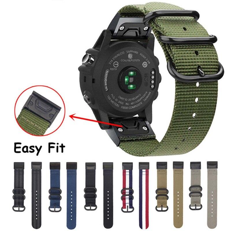 Bracelet de montre en Nylon 26mm/22mm à ajustement rapide pour Garmin Fenix 5/5 Plus/Fenix 5X/Fenix 3/D2 Delta PX