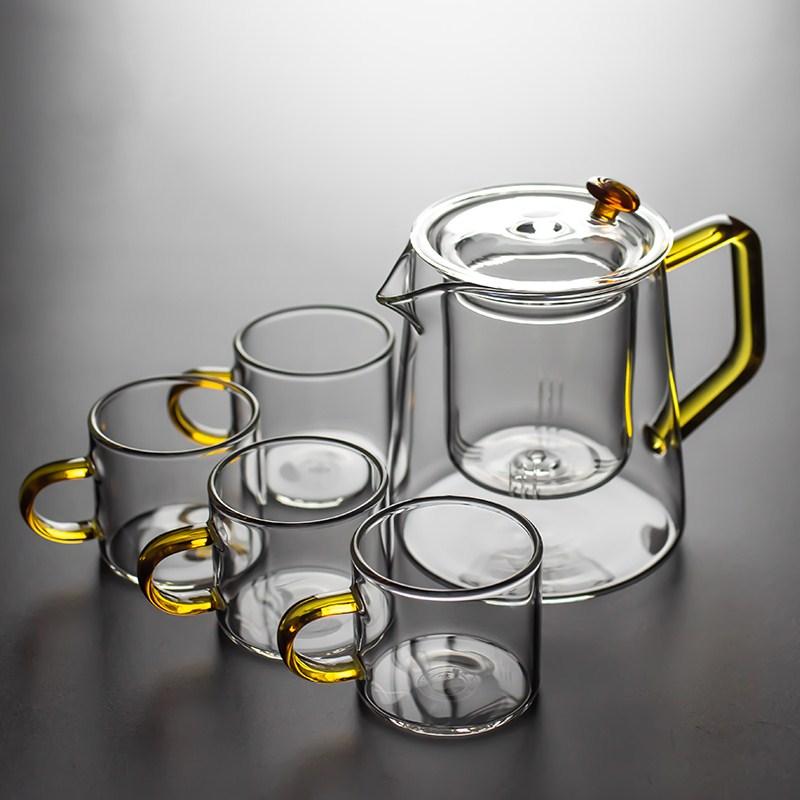 Uniho Heat Resistant Glass Teapot With Infuser Filter Black Tea Pot Set Transparent Coffee Pot High Quality Borosilicate Glass