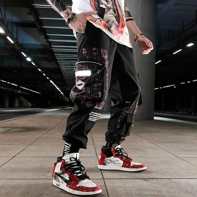 Streetwear hip hop calças militares dos homens retalhos bolso lado 2021 novo solto joggers sweatpants homens tornozelo comprimento calças para o sexo masculino 2