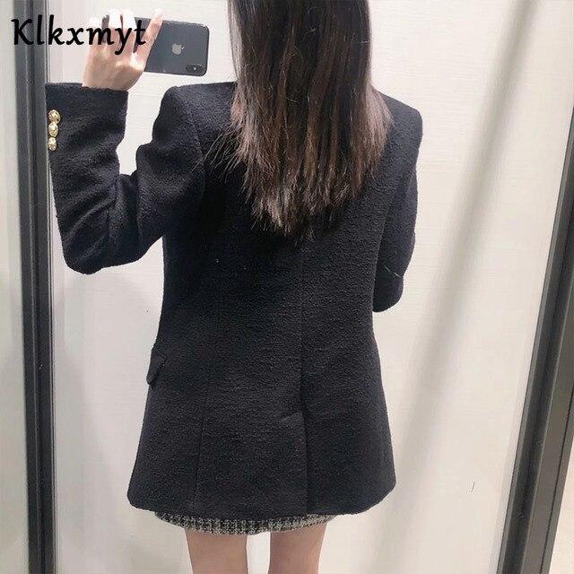 Klkxmyt Za Blazer Women 2020 Fashion Metal Double Breasted Woollen Blazers Coat Vintage Long Sleeve Female Outerwear Chic Tops 6