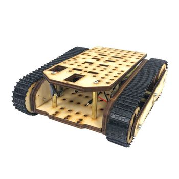 Popular Wooden Tracked Tank Chassis Track Crawler RC Smart Robot Car Tracking Obstacle Avoidance Education DIY Kit High Quality full rc metal tank car chassis all metal structure crawler big size load large obstacle surmounting tank chassis tracked vehicle