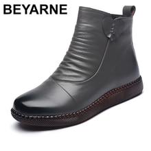 BEYARNE 2020 Autumn Women's Shoes Leather Boots Women Fashion Winter Boots Women Flats Non-slip Warm Thick-soled Shoes Women