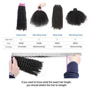 Image 5 - Yvonne 4A 4B rizado cabello humano mechones con cierre 3 mechones brasileño de la armadura del pelo de la Virgen mechones con cierre 4x4