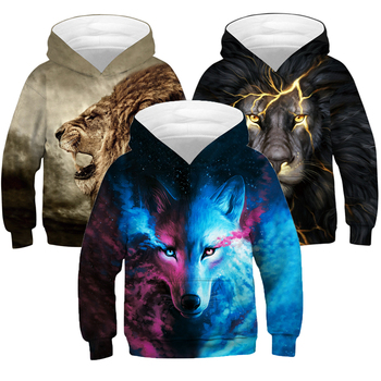 Duży rozmiar chłopięca kurtka 3D druk cyfrowy lew i wilk dorywczo chłopcy sweter z kapturem luźna bluza chłopięca 5-14 lat ubrania dla dzieci tanie i dobre opinie CNJiaYun Aktywny Poliester Drukuj REGULAR Kurtki płaszcze Pełna Pasuje większy niż zwykle proszę sprawdzić ten sklep jest dobór informacji