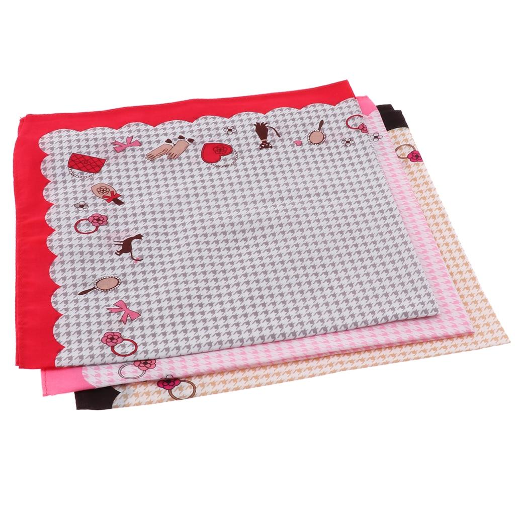 3 Pieces Womens Handkerchiefs Vintage Floral Print Thickened Cotton Hankie Handkerchiefs