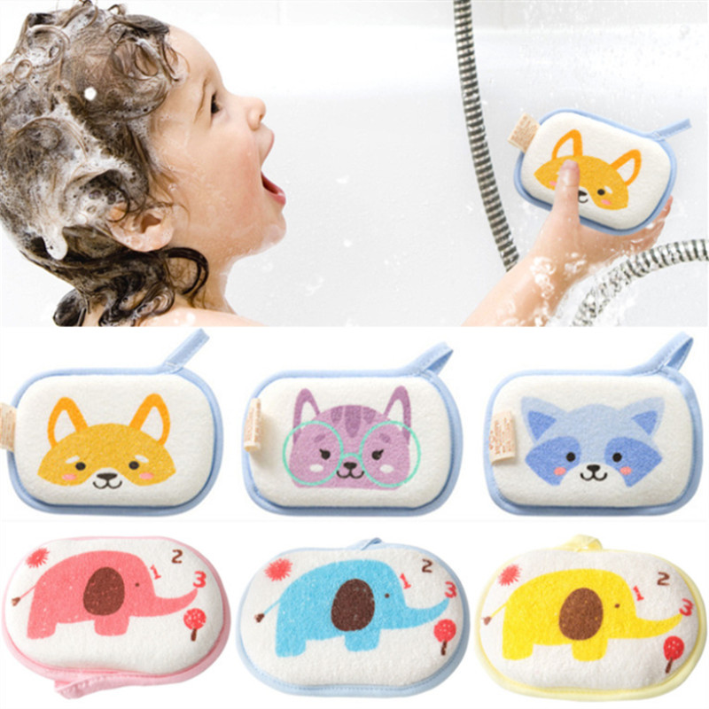 Cute Baby Bath Sponge Soft Inirritative Natural Bath Foam Shower Sponge For Kids Children Toddlers Newborns Cleaning Towel Brush
