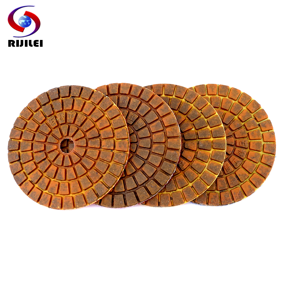 RIJILEI 4PCS Longer Life 4inch Metal Copper Bond Wet Diamond Polishing Pads Sanding Disc Grinder For Granite Marble Stone
