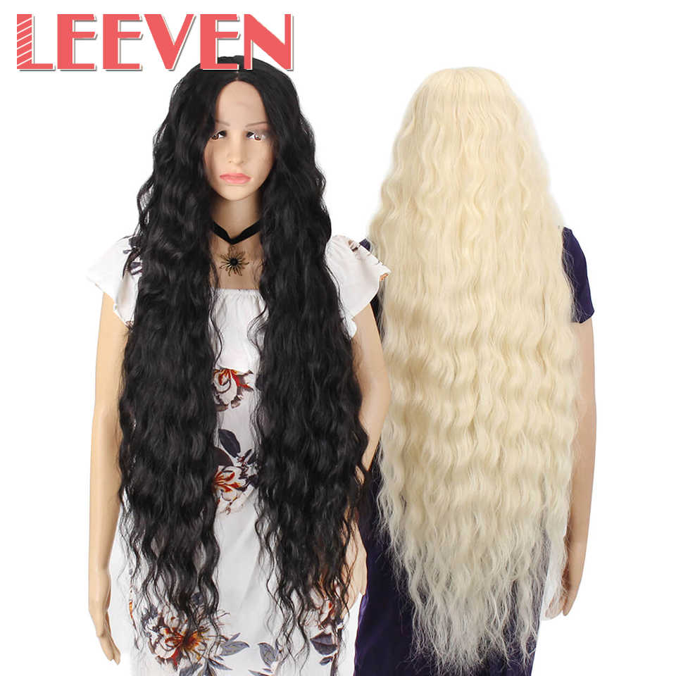 Leeven  Long Water Wave Wigs Synthetic Lace Front Wig Black Blonde 613 Afro Hair For woman wigs