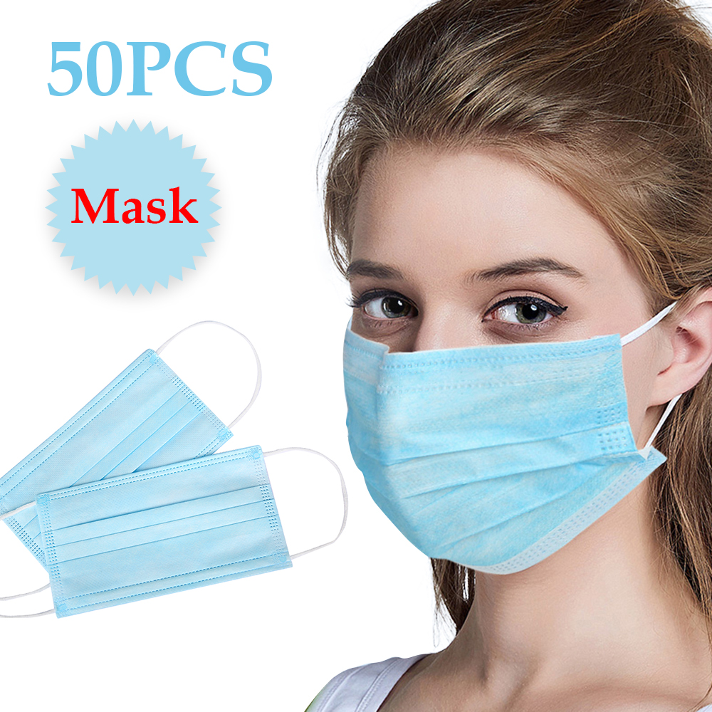 50 Pcs 3 Ply Disposable Face Mouth Dust Masks Breathing Safety Face Care Mask