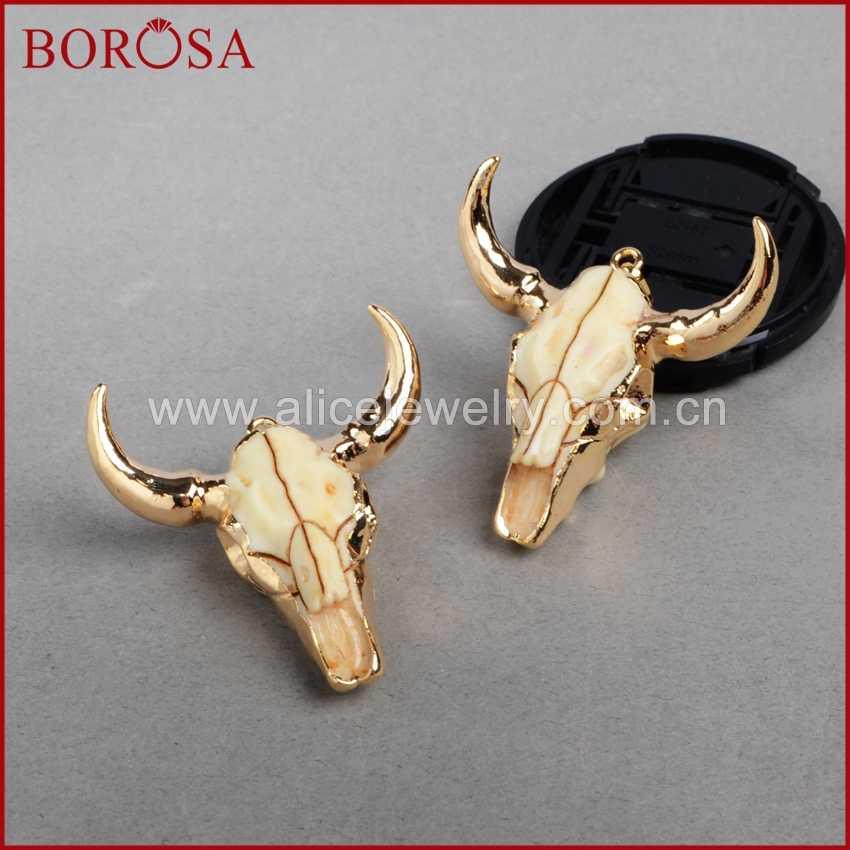 BOROSA แฟชั่น BUFFALO HEAD จี้สี Bull วัว Charm ลูกปัด Longhorn เรซิ่นฮอร์นวัวจี้สำหรับสร้อยคอ G0842