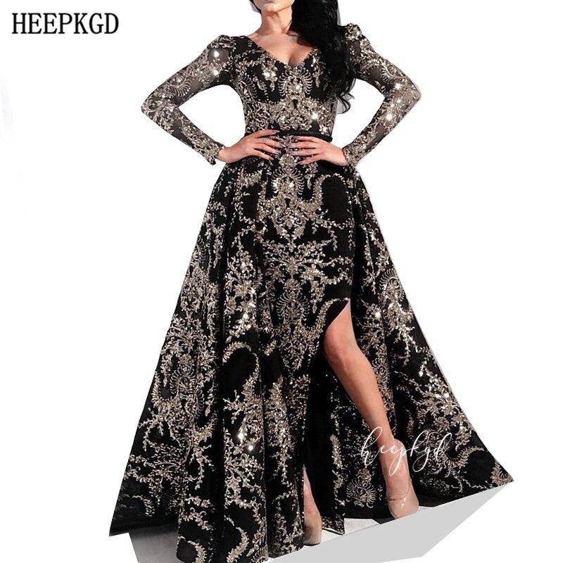 Luxury Black Long Sleeves Arabic Evening Dress Golden Lace V Neck Side Slit 2020 New Women Prom Gowns Customize Abendkleider