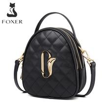 FOXER الإناث جلد البقر حقائب كروسبودي متعددة الوظائف النساء حقائب اليد الصغيرة الفتاة حقيبة ساعي محفظة صغيرة مقبض