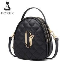 Foxer女性の牛革クロスボディバッグ多機能女性スモールトートバッグガールのメッセンジャーバッグミニハンドル財布