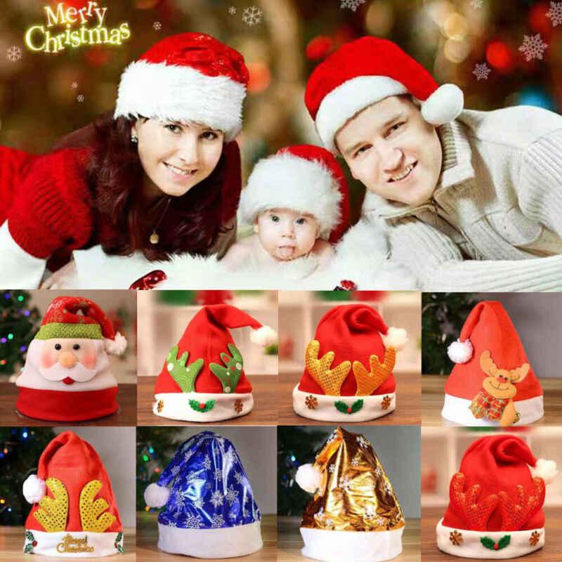 2019 Nova Adulto/Crianças Chapéus Bonitos do Natal Engraçado Da Novidade Pai Natal Papai Noel Costume Party Outfit Quente