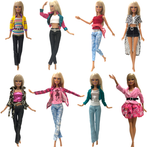 NK Mix Style 1 Set Doll Outfit Fashion Dress Handmade Clothes Top Trouseres For Barbie Doll Cloth Baby Toys Girl's gift JJ