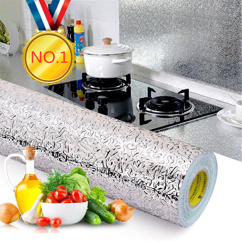 40x100cm  Sticker DIY Wallpaper Kitchen Oil-proof Waterproof Stickers Aluminum Foil Stove Cabinet Self Adhesive Wall