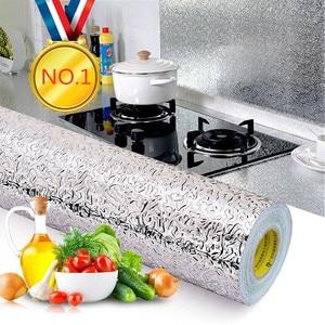 40x100cm Sticker DIY Wallpaper Kitchen Oil-proof Waterproof Stickers Aluminum Foil Stove Cabinet Self Adhesive Wall