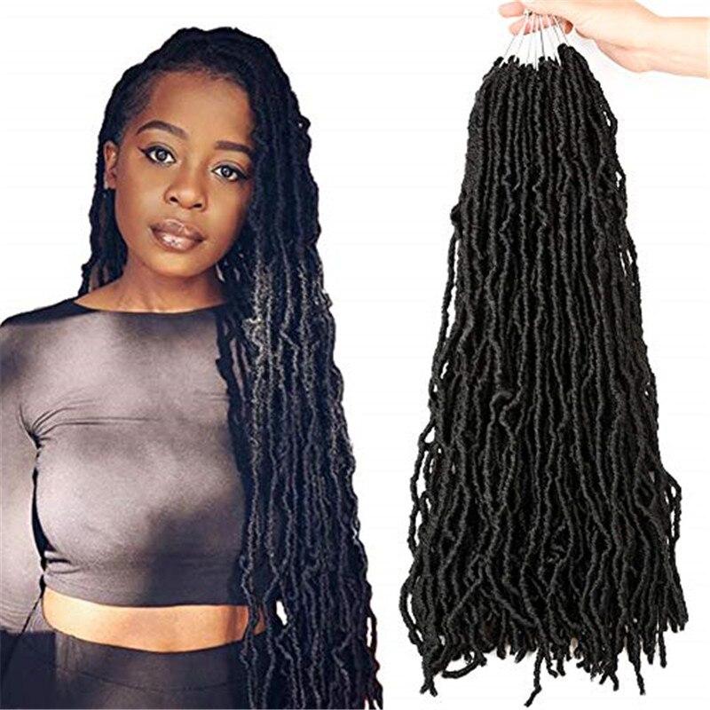 Kong&Li Curly Dreadlocks Faux Locs Crochet Braids Hair Extension Synthetic Brading Hair Nu Locs Crochet Hair For Women