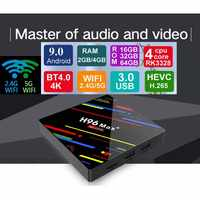 H96 max plus android 9.0 caixa de tv rockchip rk3328 4 gb ram 64 gb rom 4 k h.265 usb3.0 bt4.0 2.4g 5g wif conjunto caixa superior